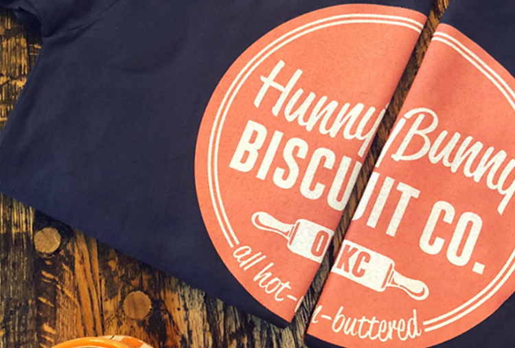 close up shot of a t shirt for a local bakery