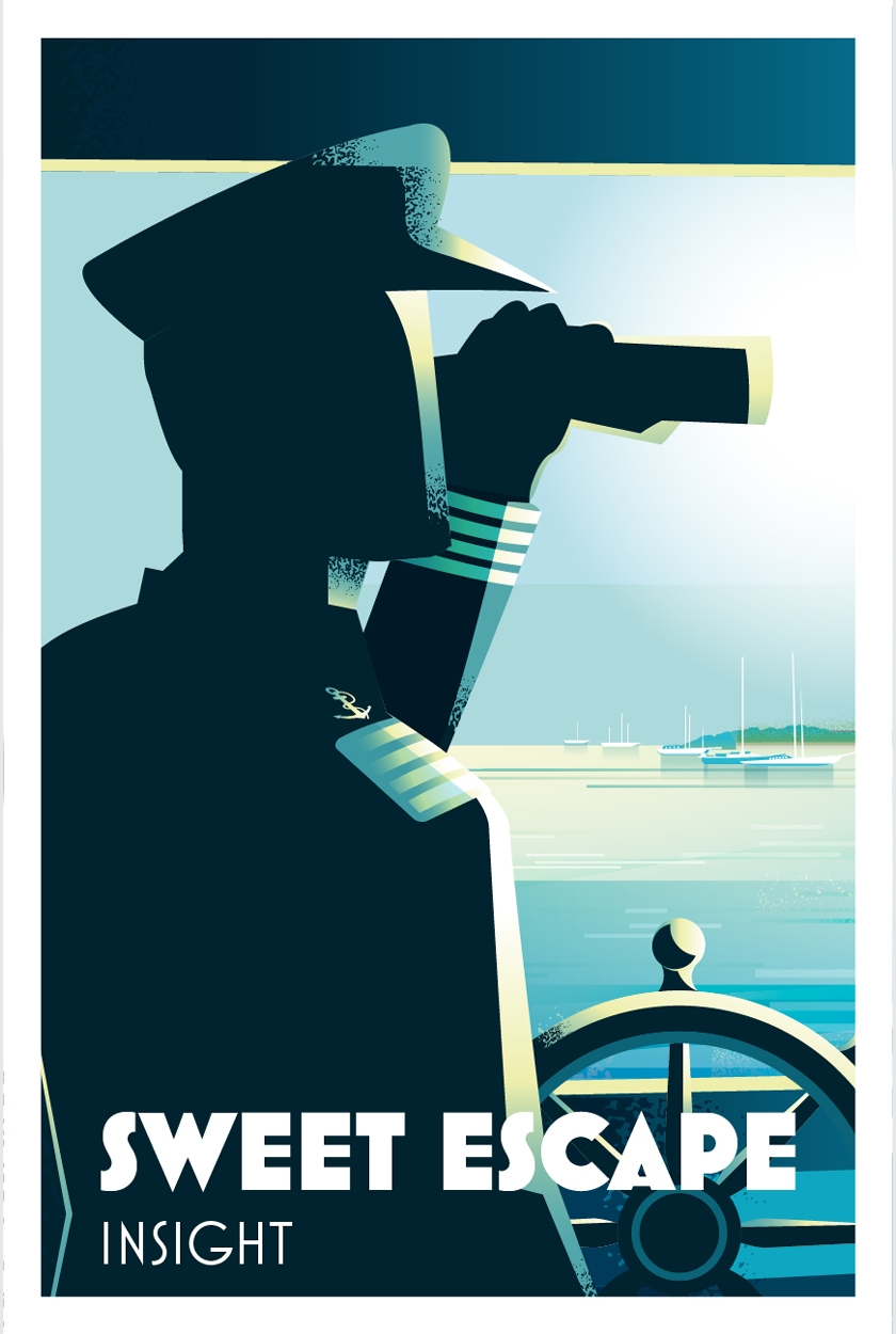 Yacht Sweet Escape Art Deco Poster © Jeremy Cartwright