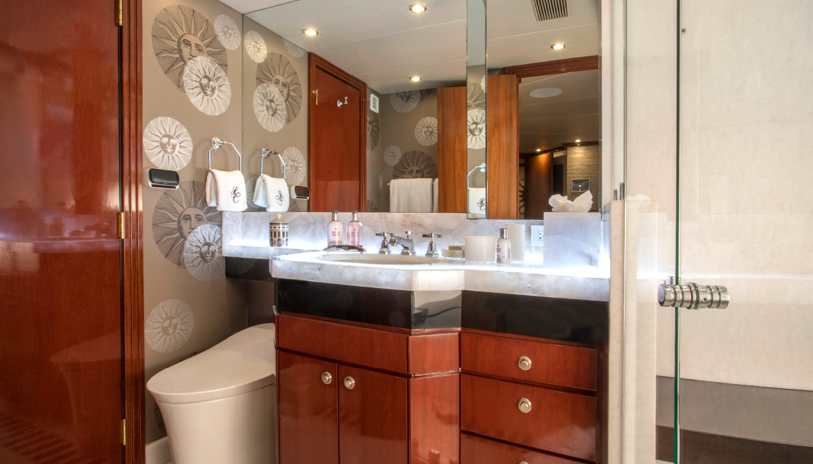 The new His Bathroom with steam shower carries the theme, color and light characteristic of Sweet Escape, also featuring one of three Kohler Veil Intelligent toilet and bidet systems on-board.