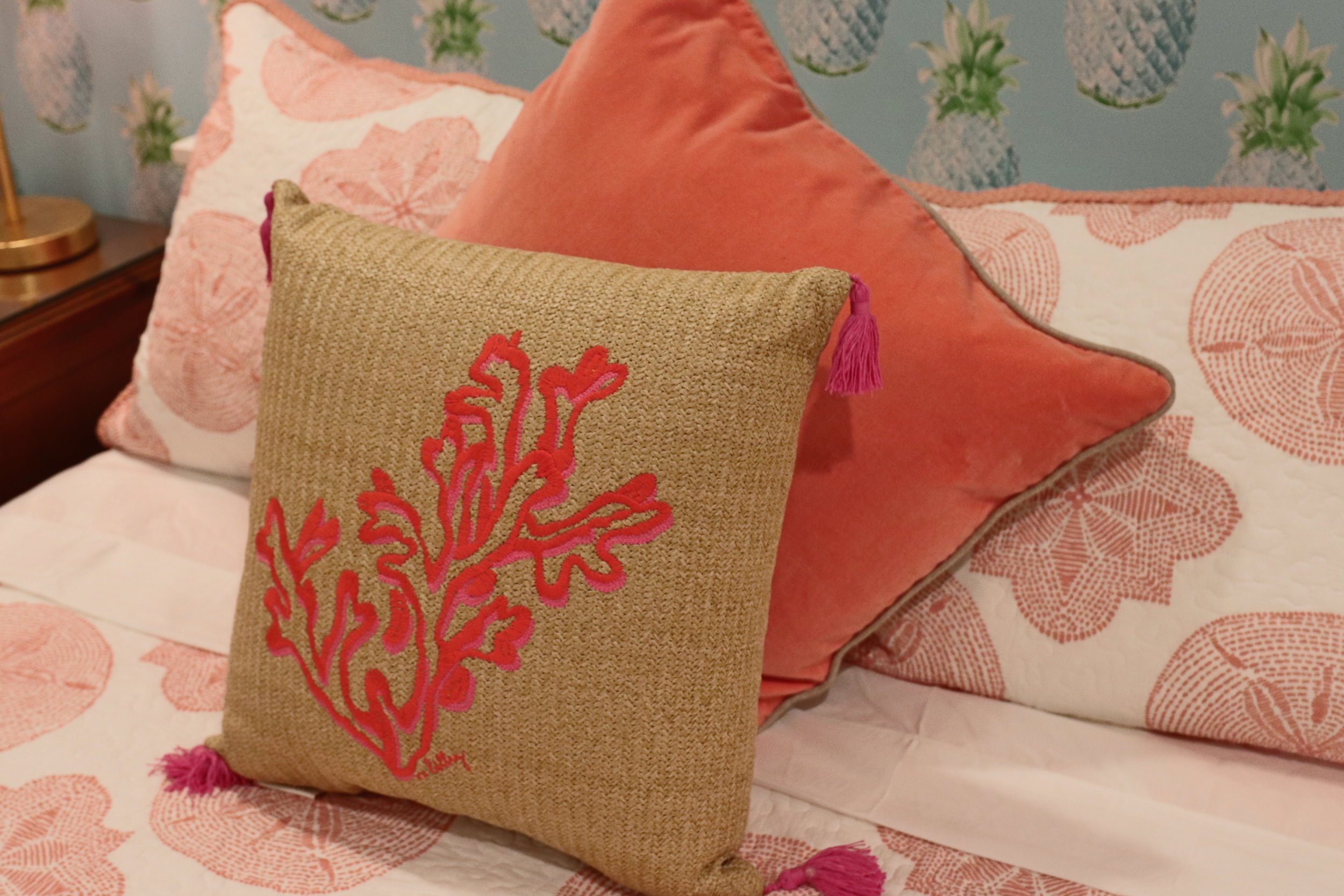 sweet-escape-cottage-paradise-island-lily-pulitzer-coral-pillows-potterybarn