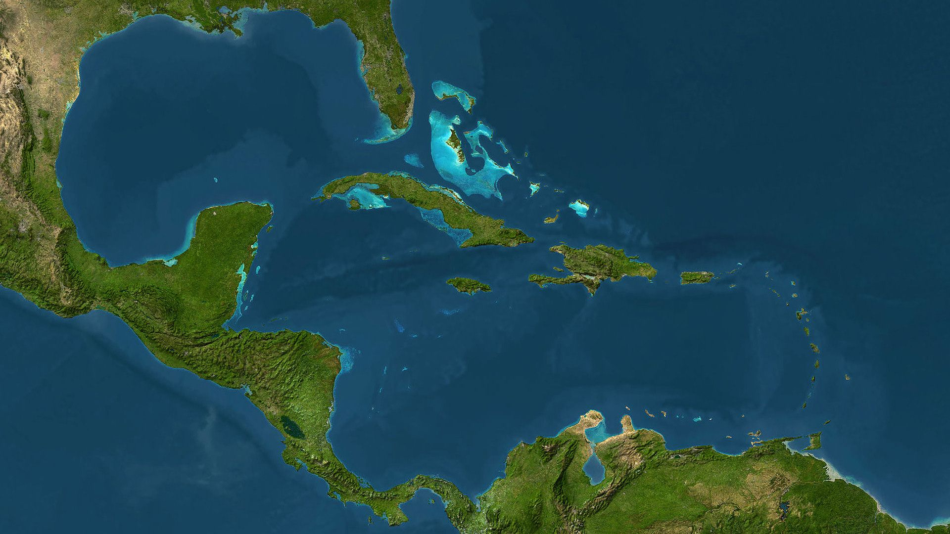 The Caribbean with the Bahamas and the Gulf of Mexico, Atlantic Ocean.