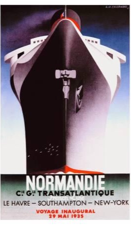 The French Line commissioned artists to create posters and publicity for the liner. One of the most famous posters was by Adolphe Mouron Cassandre, who was also a Russian emigrant to France.