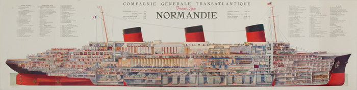 SS Normandie was an ocean liner built the French Line Compagnie Generale Transatlantique. Her novel design and lavish interiors led many to consider her the greatest of ocean liners. Poster by Albert Sébille, showed the interior layout in a cutaway diagram 15 feet long. This poster is displayed in the Musée national de la Marine in Paris.