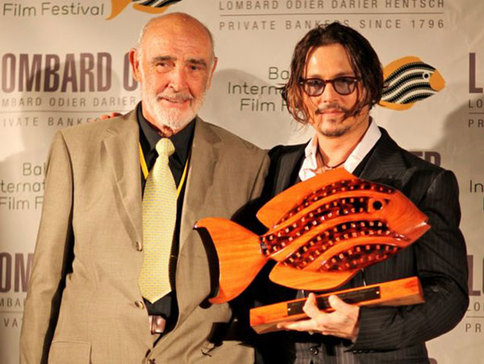 Lyford Cay resident Sir Sean Connery and Johnny Depp at the Bahamas International Film Festival, 2009