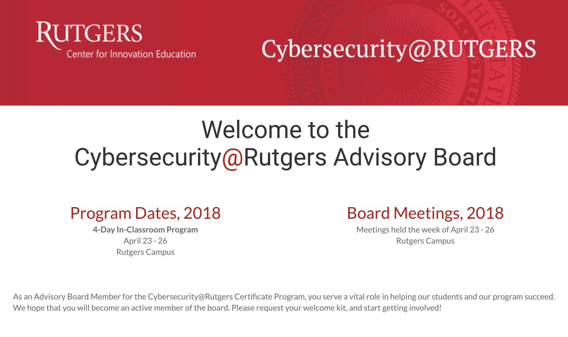 Rutgers Cybersecurity Program - Advisory Board Member