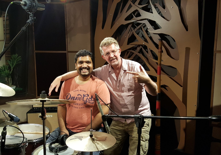 Dan Swift and Akhil Kumar at Ferris Wheel Studios in New Delhi