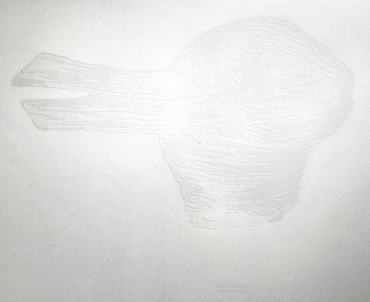 Artist Statement (Rabbit or Duck) , from  Duck or Rabbit?  series, white vinyl, 28 x 34 in.