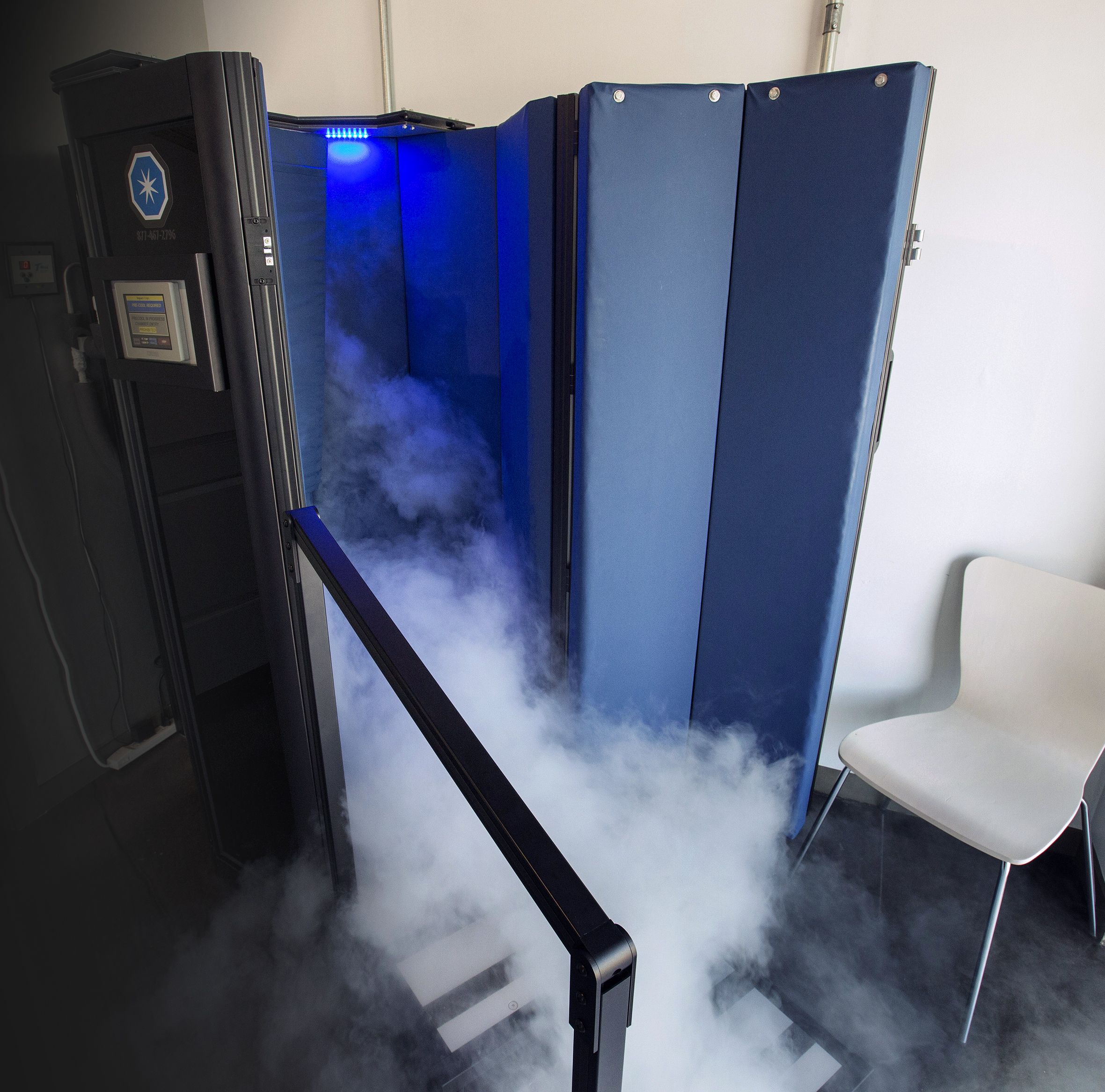 Cryotherapy booth at CryoLuxe.