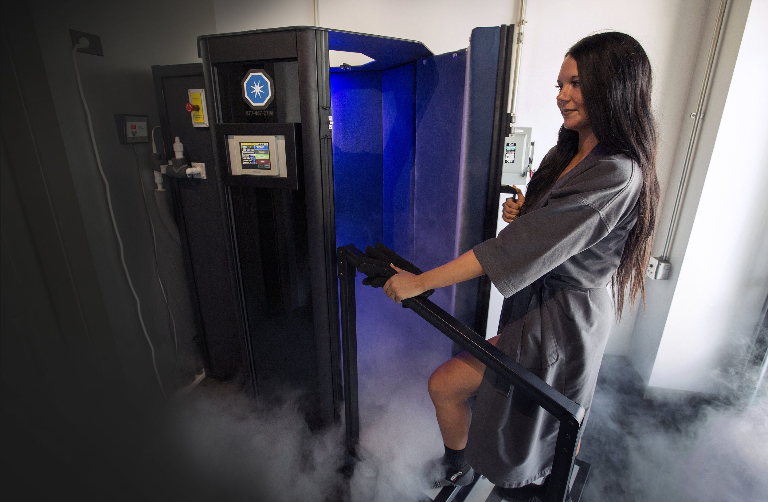 Customer trying Whole Body Cryotherapy