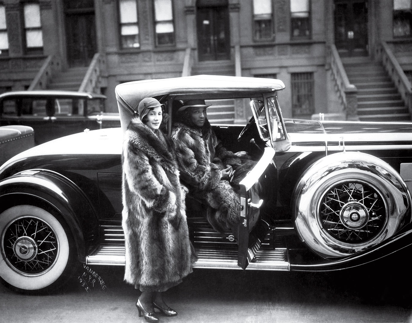 James Van Der Zee,  Couple with Racoon Coats , 1932, Silver gelatin print.