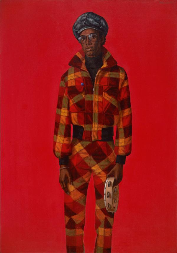 Barkley Hendricks,  Blood , 1975. Oil and acrylic on canvas, 72 x 50 1/2 in.