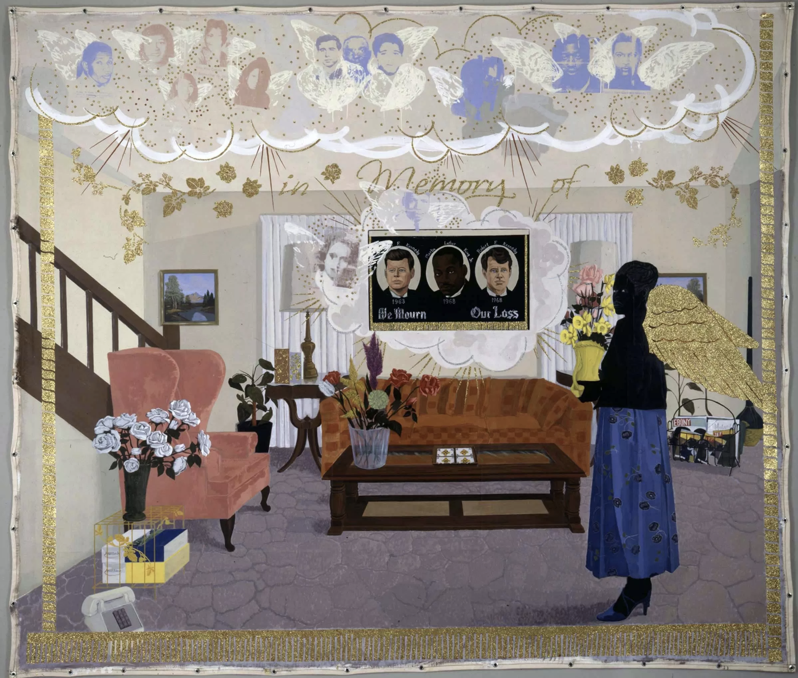 Kerry James Marshall,  Souvenir II, 1997.  Acrylic, collage, and glitter on unstretched canvas banner. Addison Gallery of American Art, Phillips Academy.