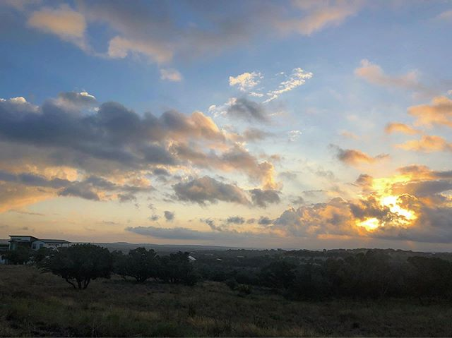 Hill Country sunrise over the greenspace at TerraScena