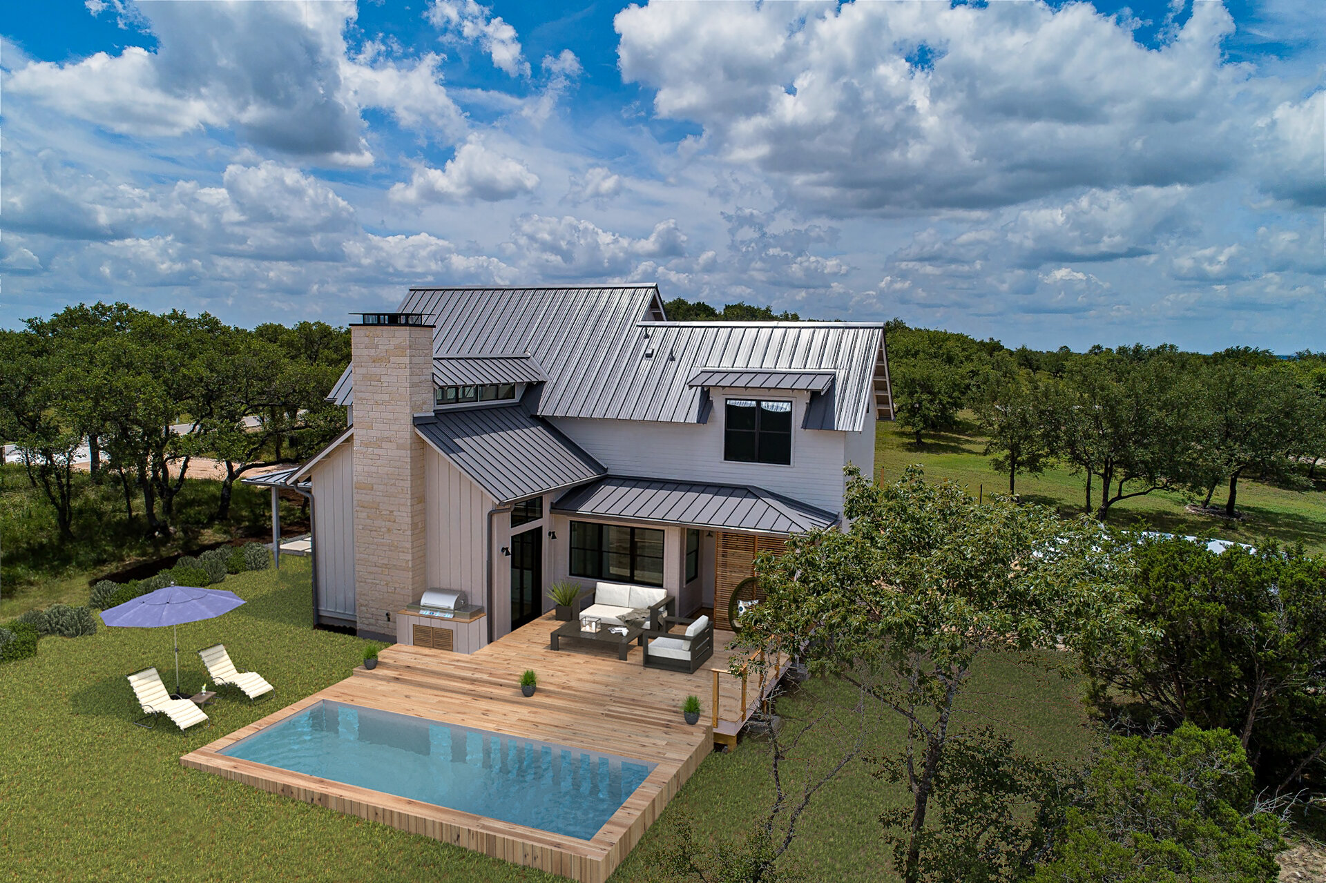 151 Terra Scena Trail - Welcome home! This Modern Farmhouse by Tim Brown Architecture was designed with sustainability, livability, and timeless aesthetics in mind. Nestled into a grove of live oaks on the highest point in Terra Scena. Long distance views and multiple indoor & outdoor living spaces makes this home live large on a small footprint. Unique home features include: 100% Rainwater Harvesting, 30k gallon system (FULL!!!), Solar Pre-wire, native landscaping, healthy indoor air quality, custom/low maintenance finishes.