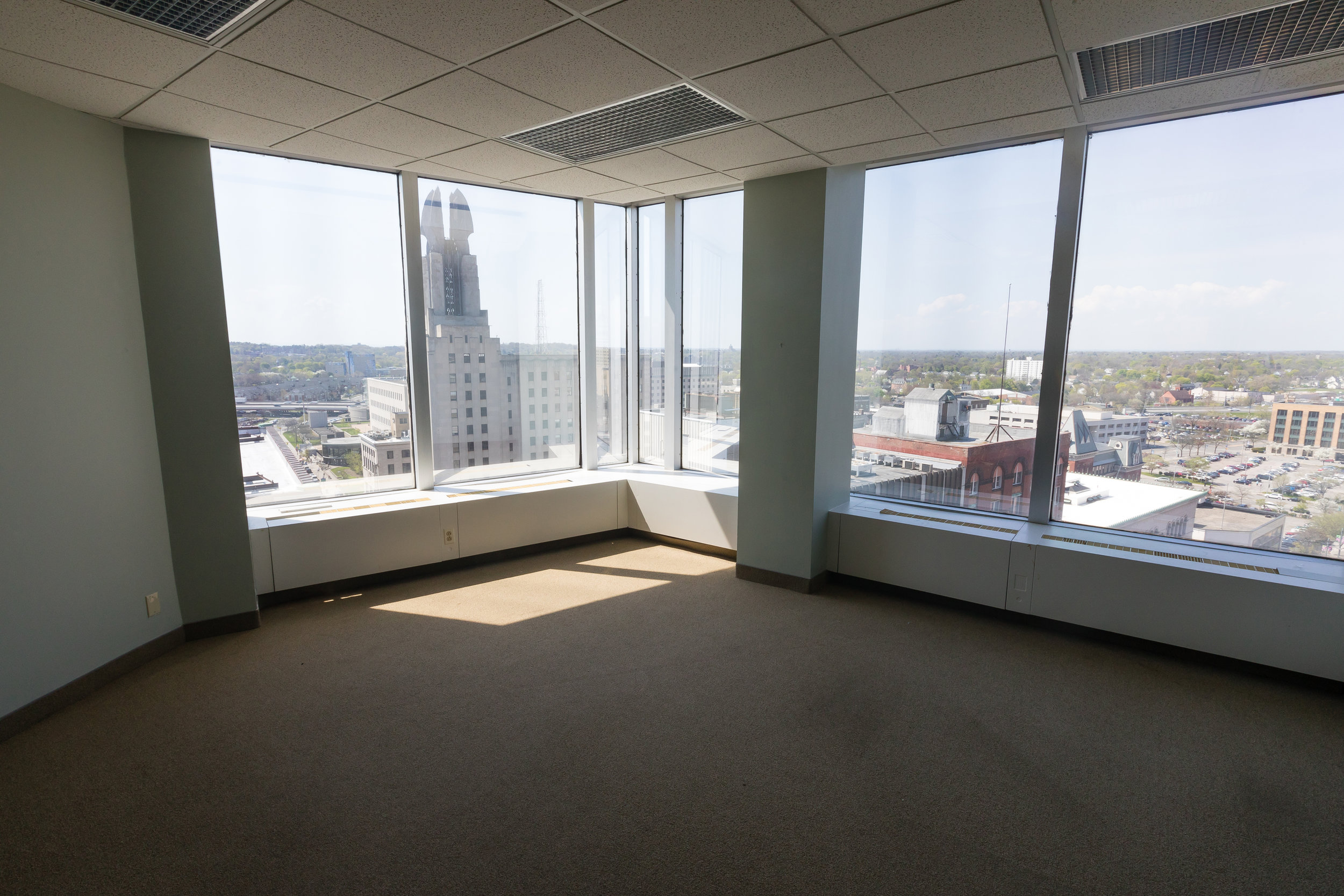 Corner office spaces open in Rochester, New York.