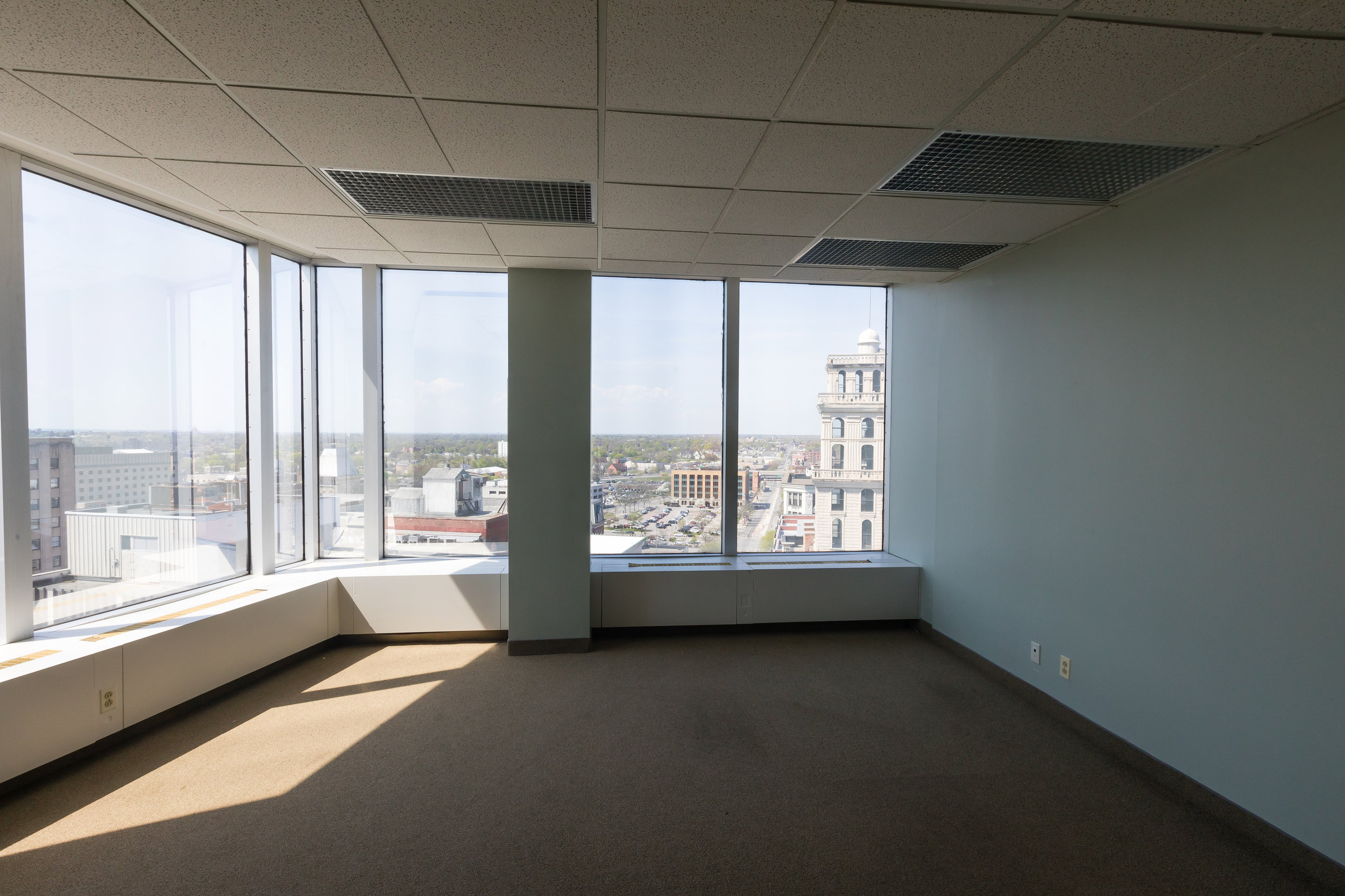 Wonderful city views in Rochester, NY office space.