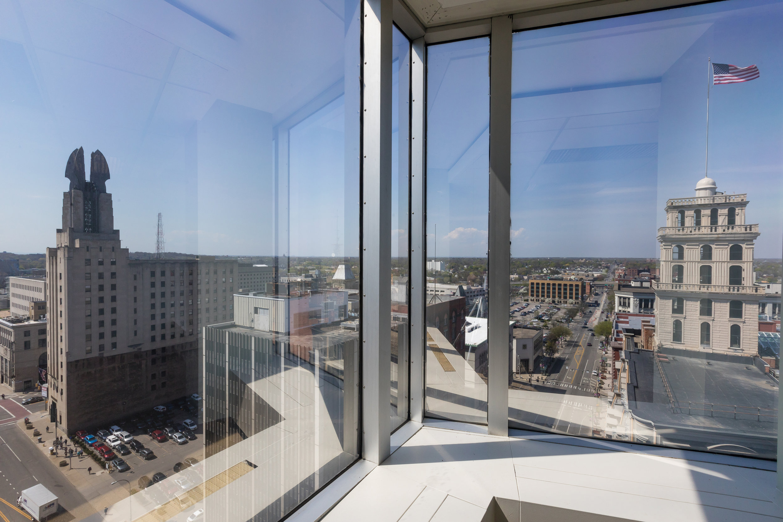 Sweeping views of the Rochester, NY skyline for your office.