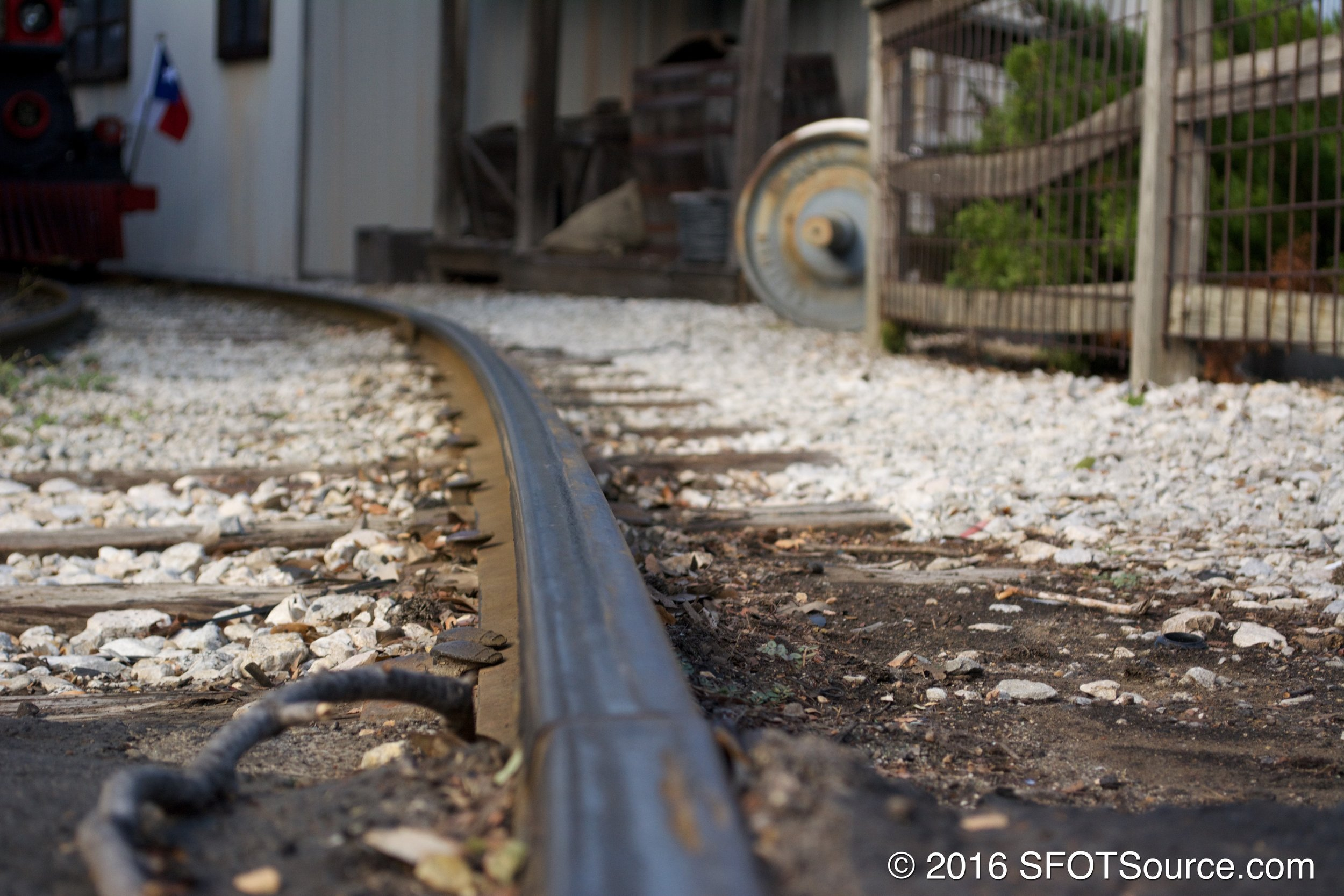 A look at the railroad tracks running through Boomtown.
