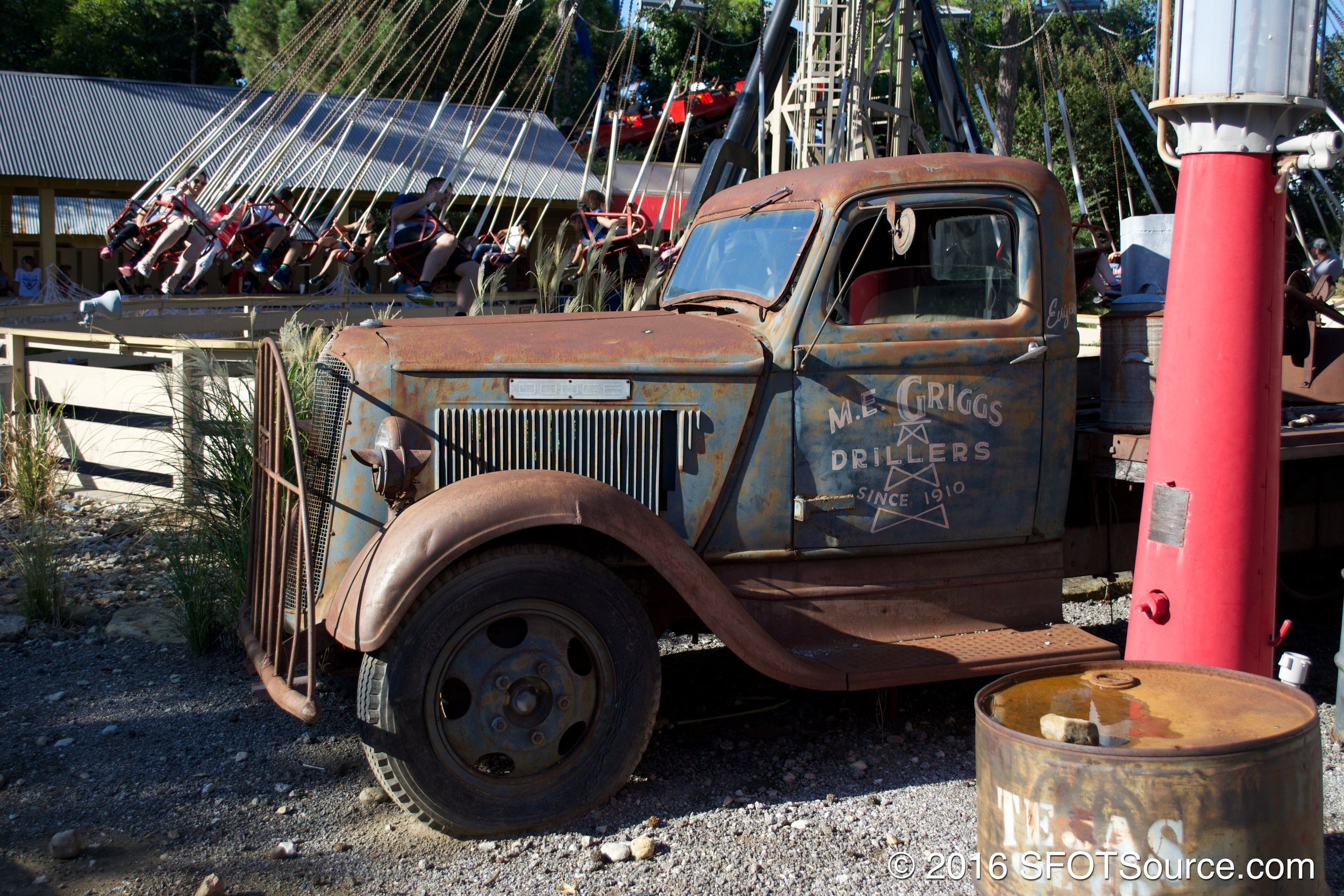 Boomtown features old oil town theming.