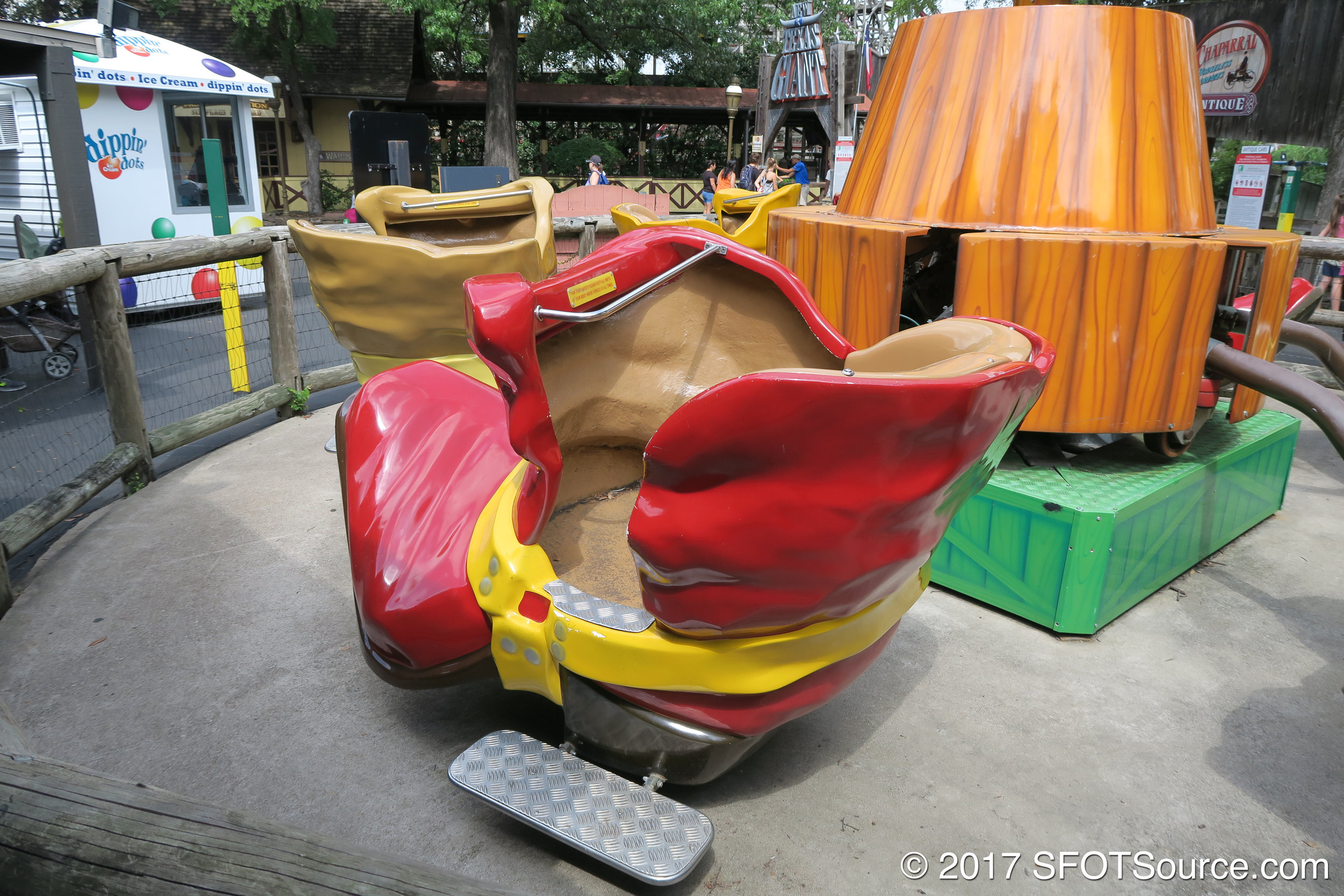 The children's ride is themed around cowboy boots.