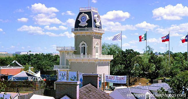 A former version of a Scrambler attraction, dated back to the 1960s at Six Flags Over Texas, can be seen in the lower left-hand corner of this picture. Credit:    vintagevacationphotos.com