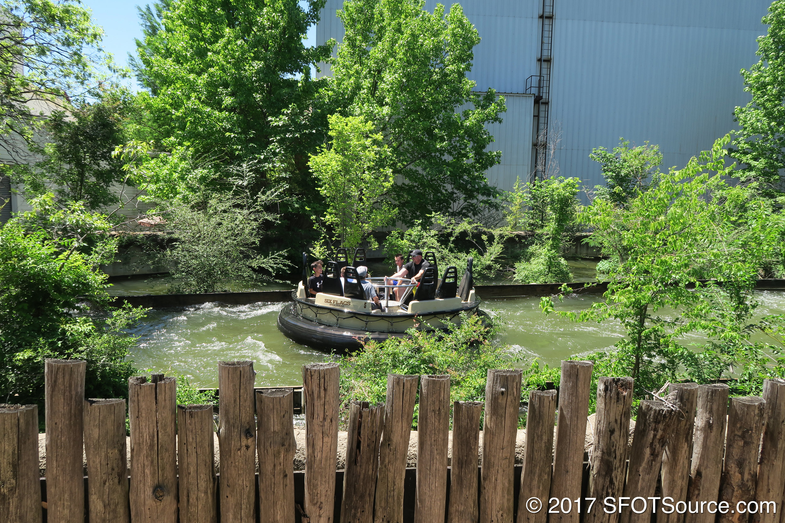 A boat near the beginning of the ride's layout.