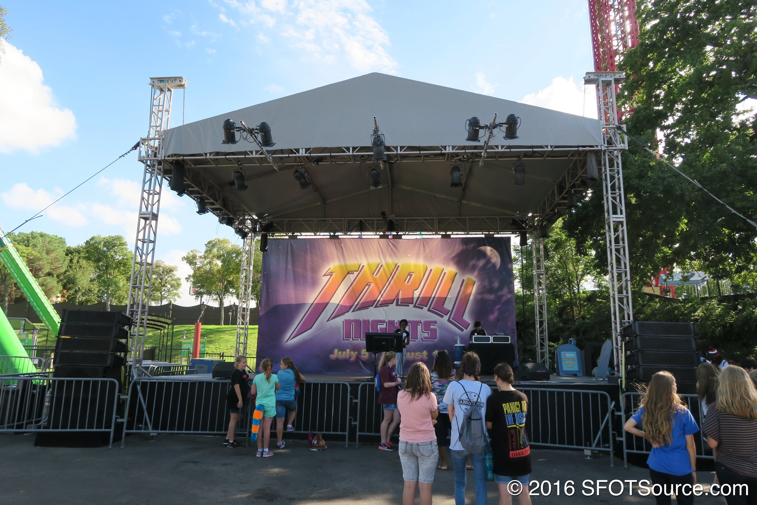 An outdoor stage located in the park's Gotham City section.