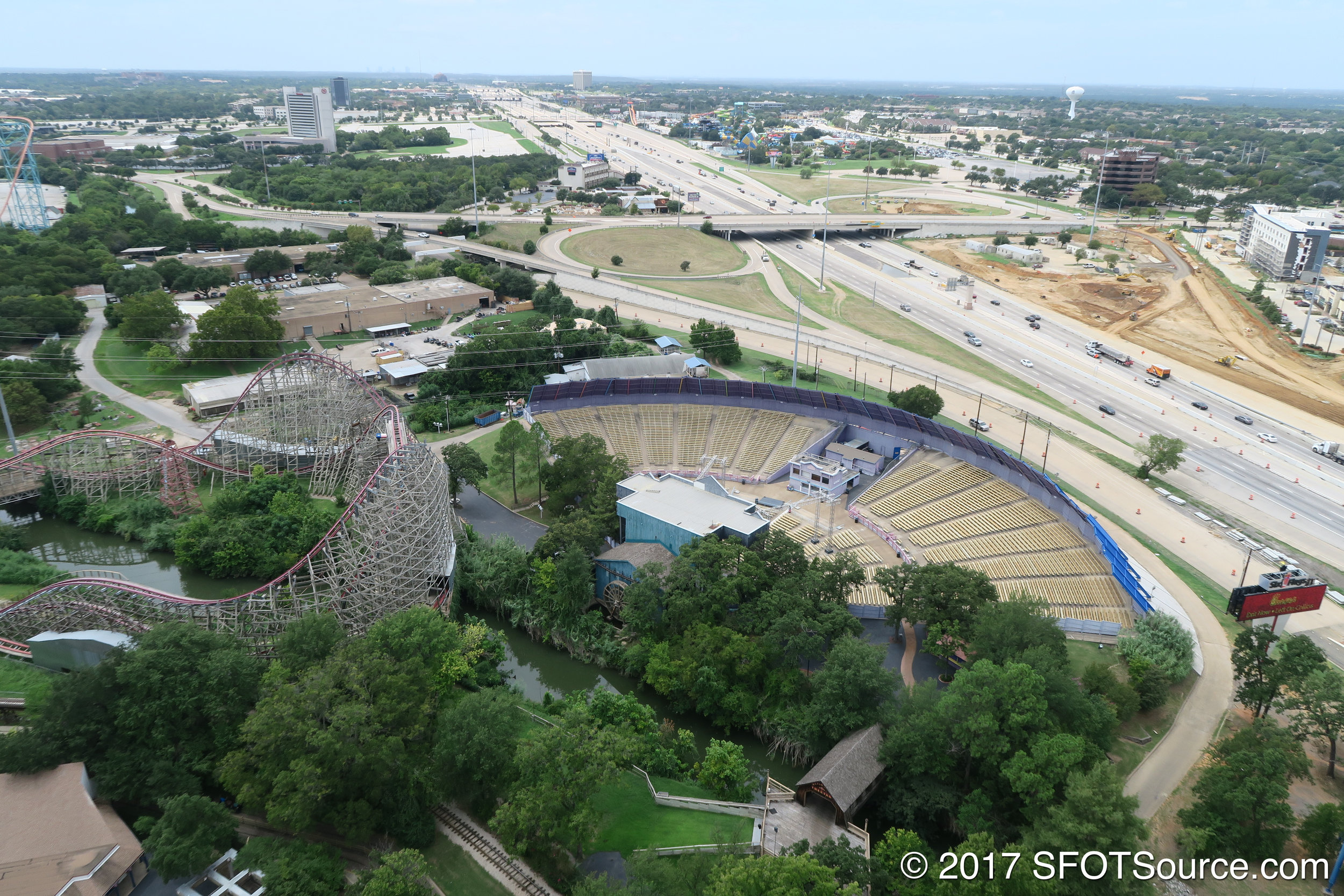 An aerial shot of Music Mill Amphitheater.