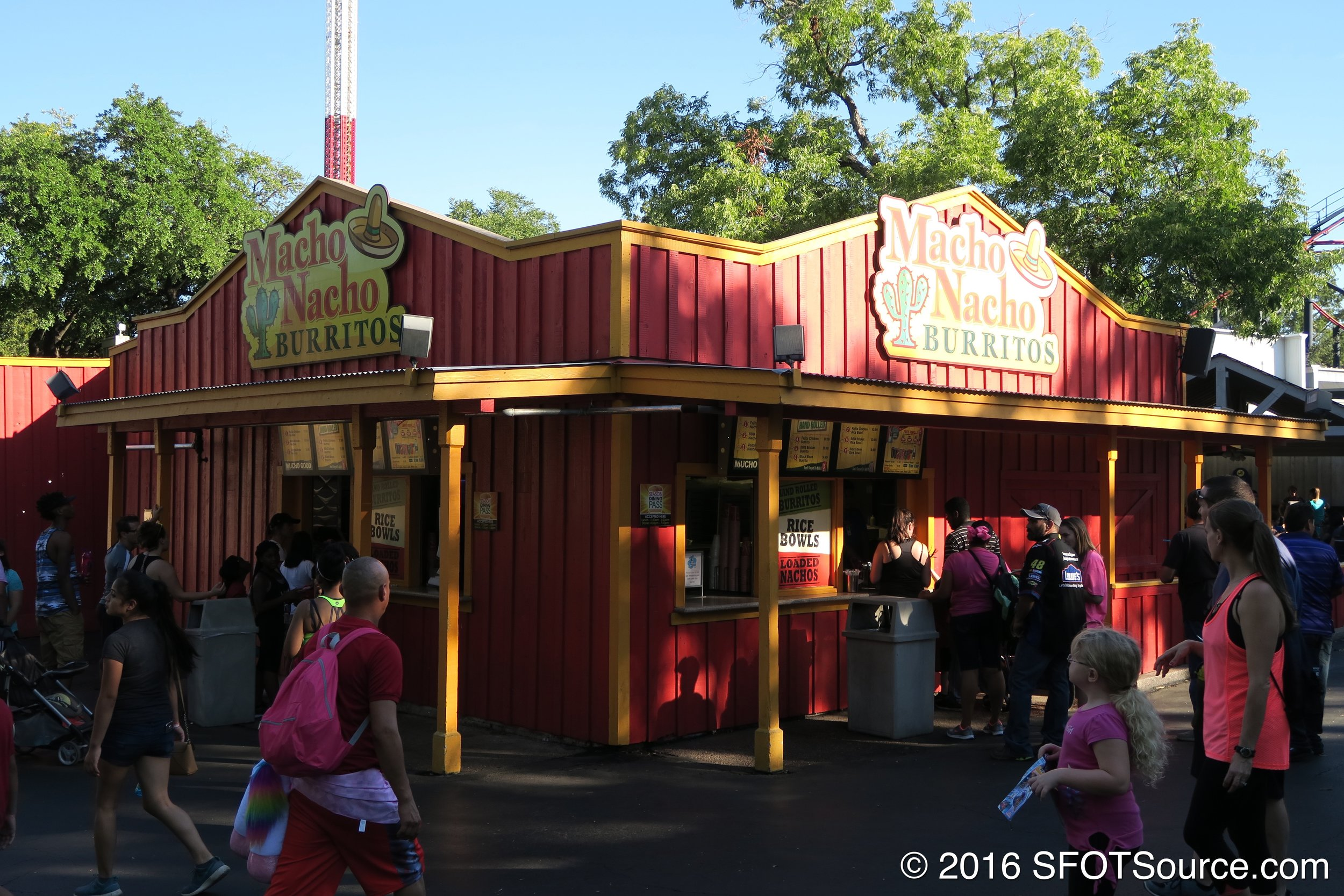 Macho Nacho is located in the park's Boomtown section.