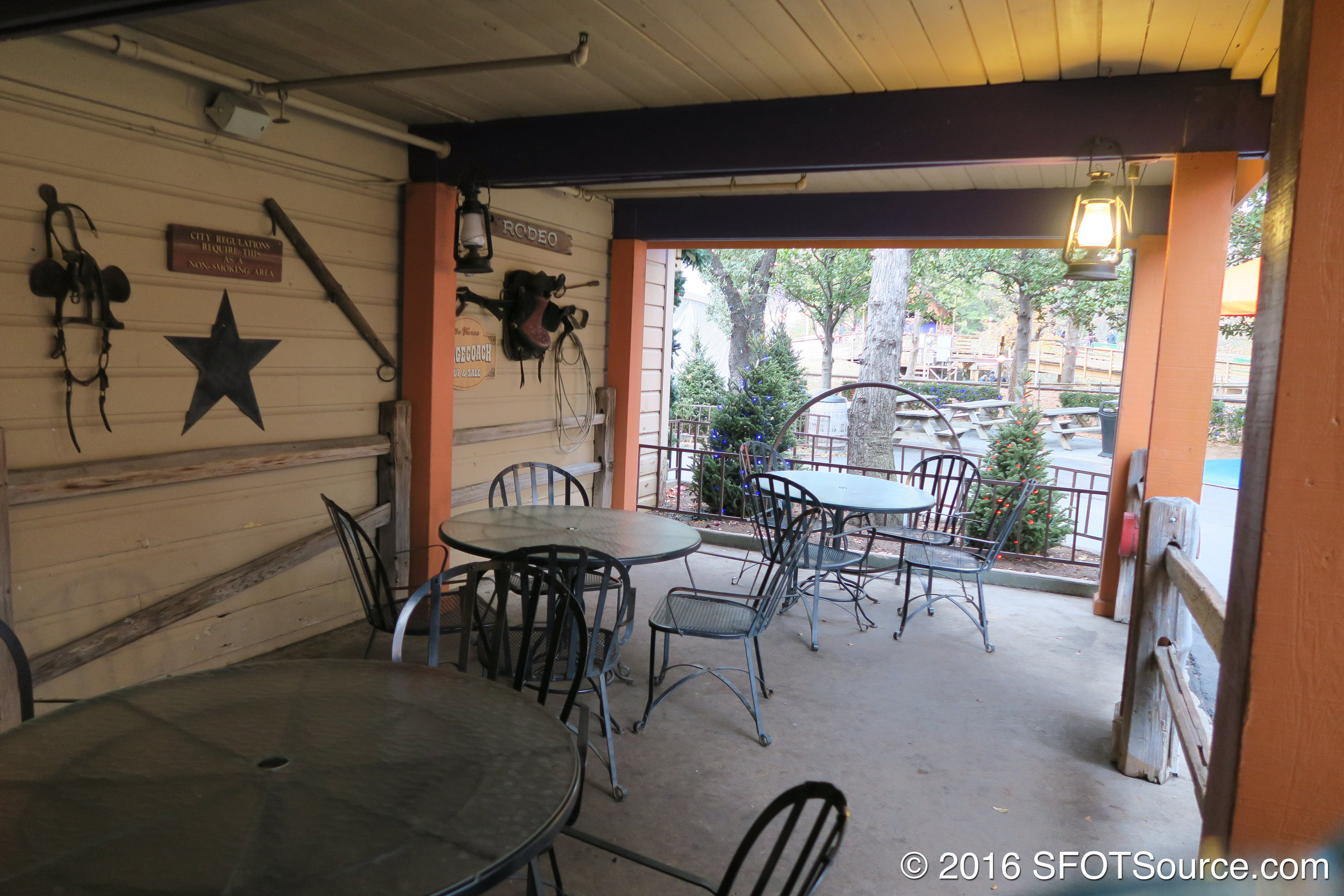 A look at the restaurant's covered outdoor seating area.