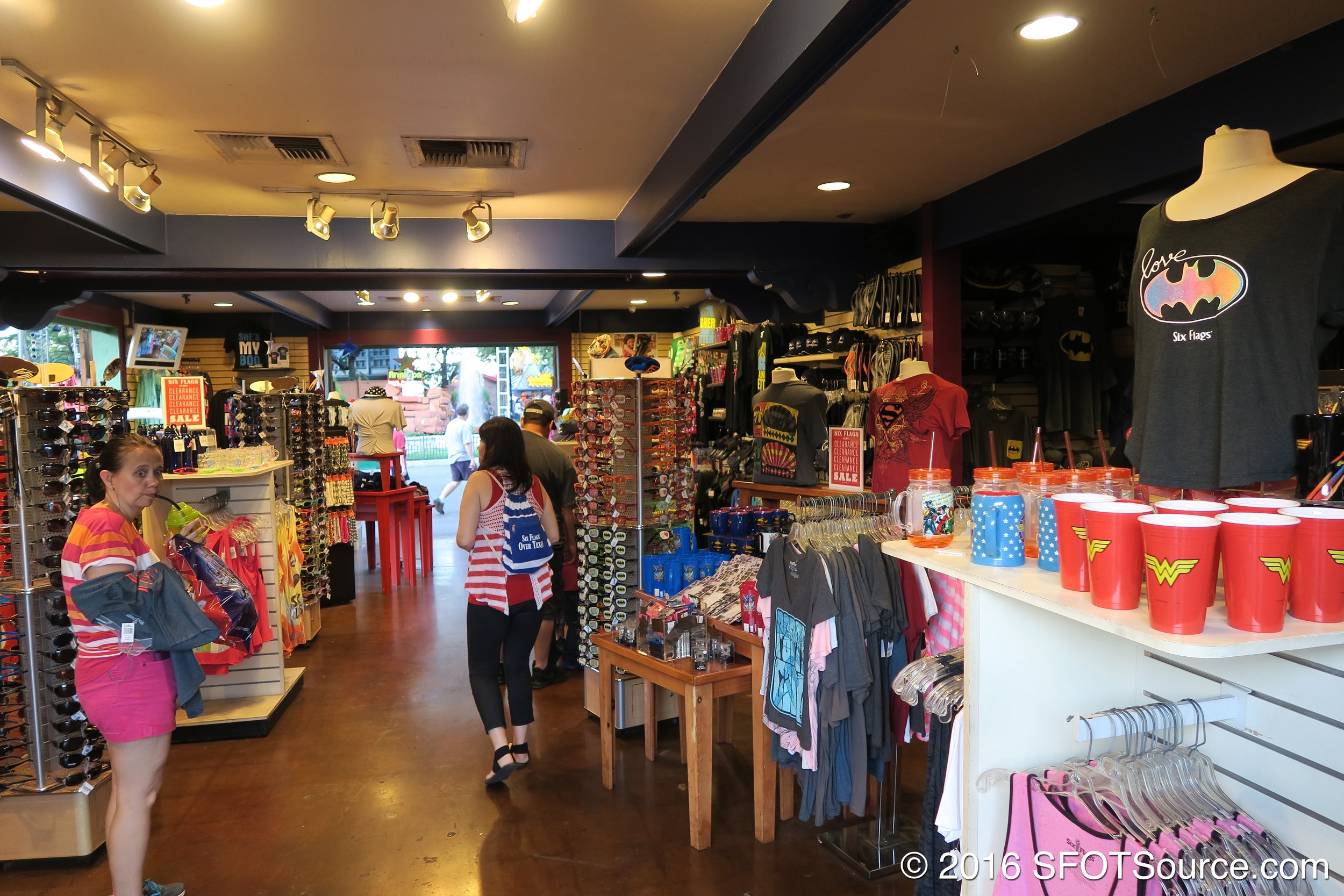 The shop features apparel, souvenirs, and other items.