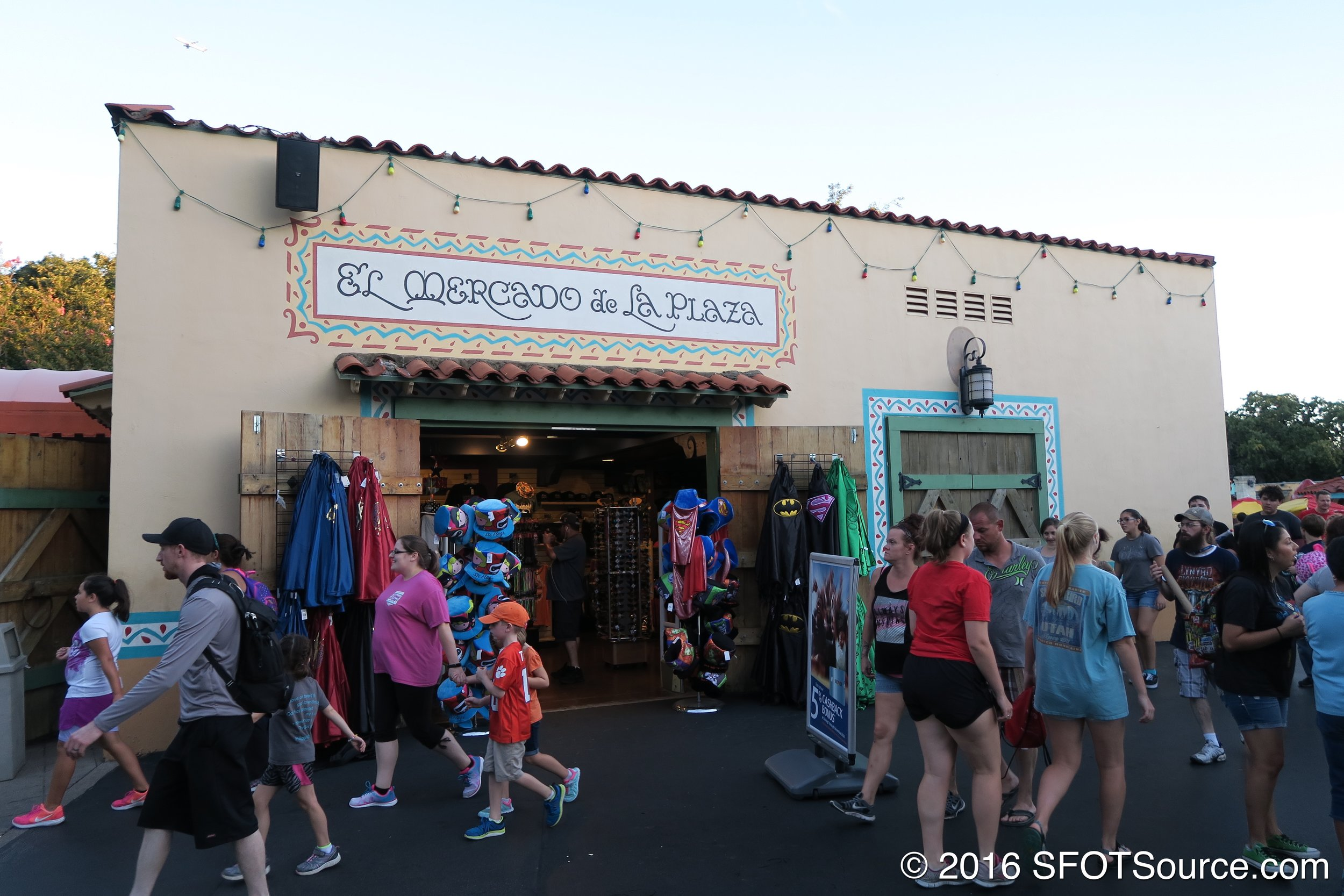 El Mercado is located in the park's Mexico section near front gate.