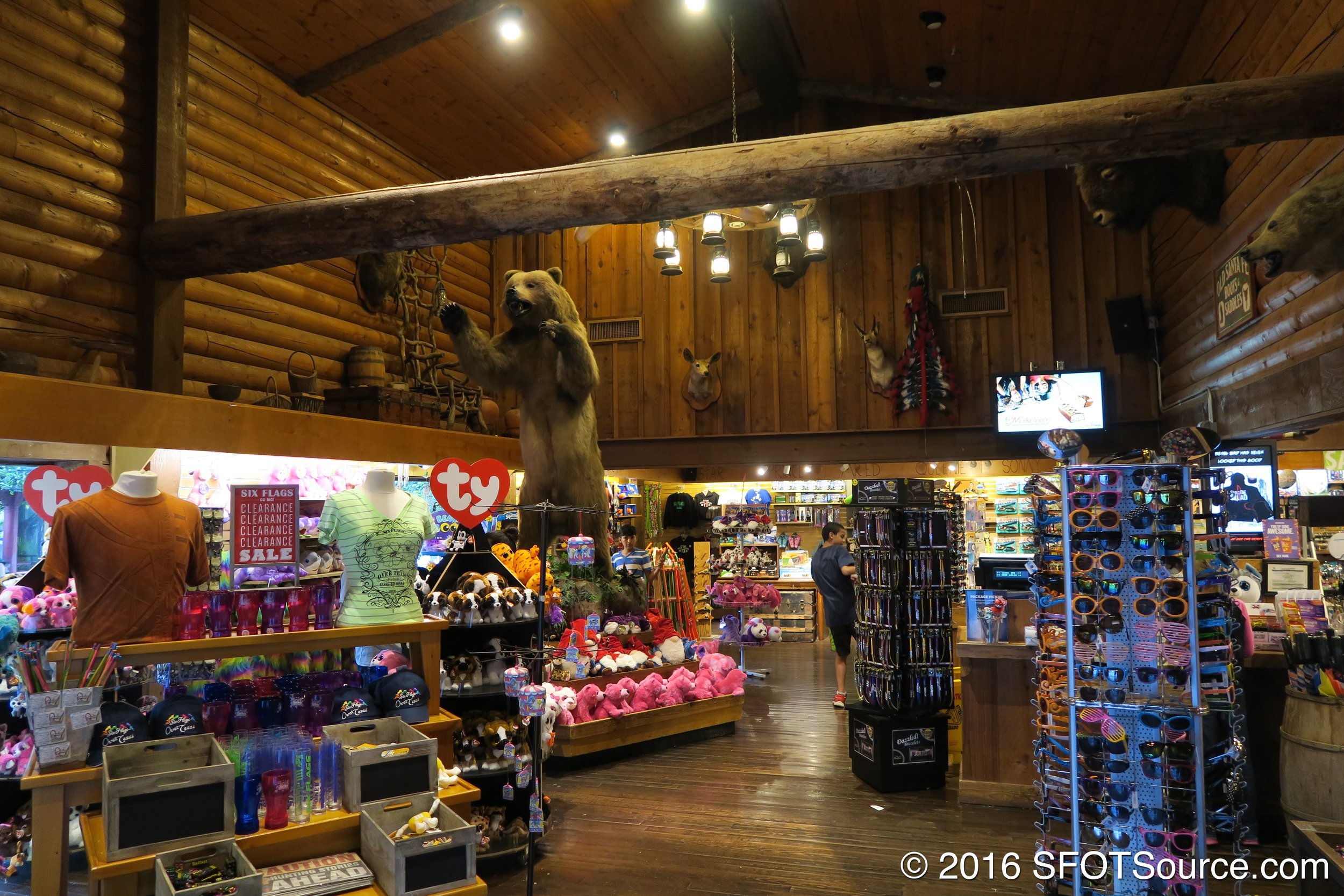 The shop has various souvenirs and items for sale.