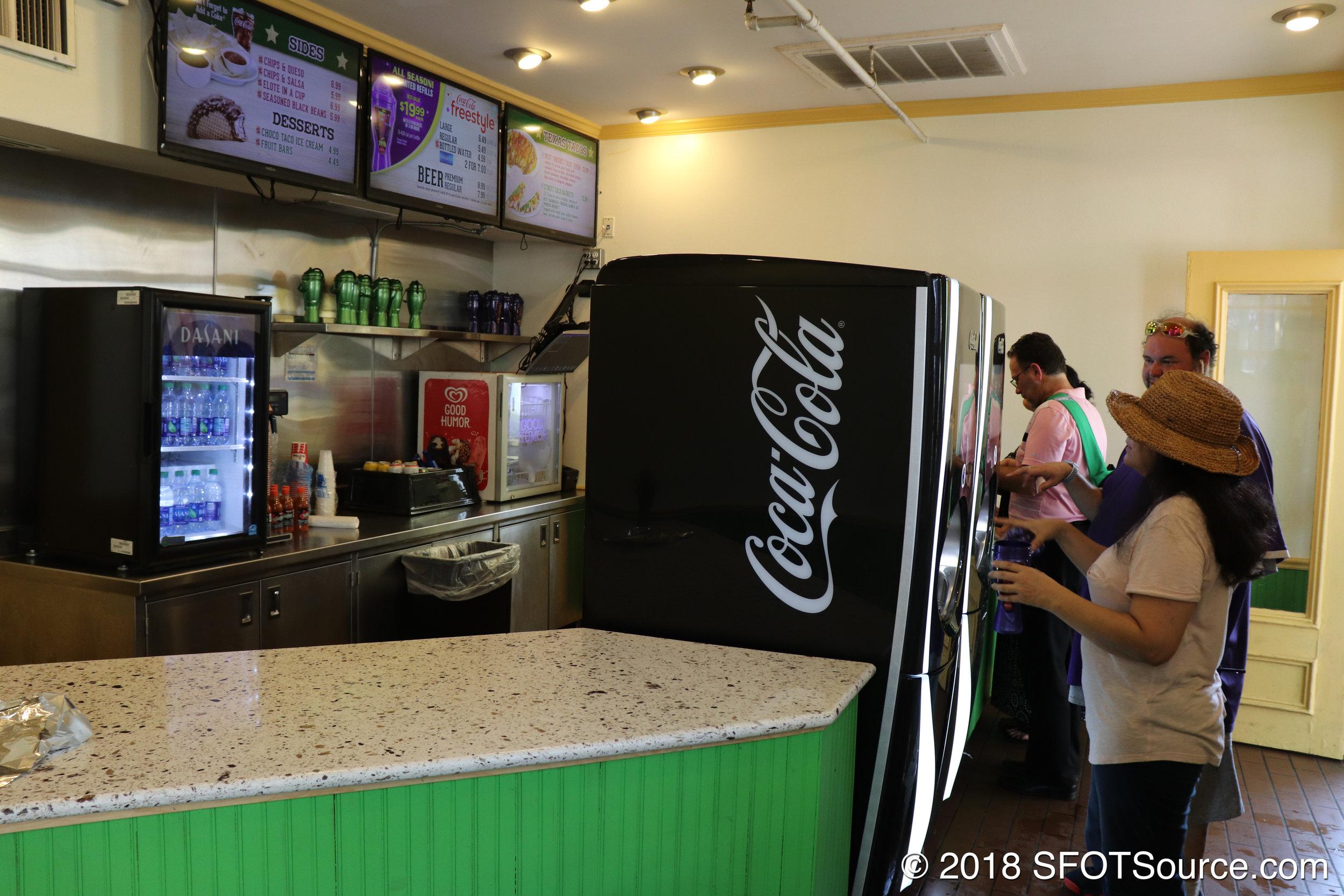 Texas Taco Bar also features Coca-Cola Freestyle machines.