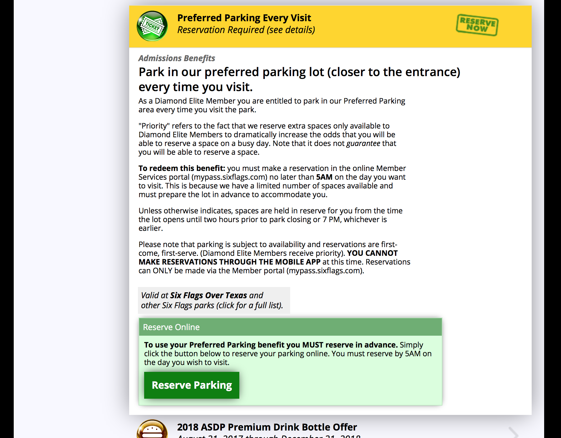 "Once you click this option a box will open up. Please read the information carefully and then click the ""Reserve Parking"" button at the bottom."