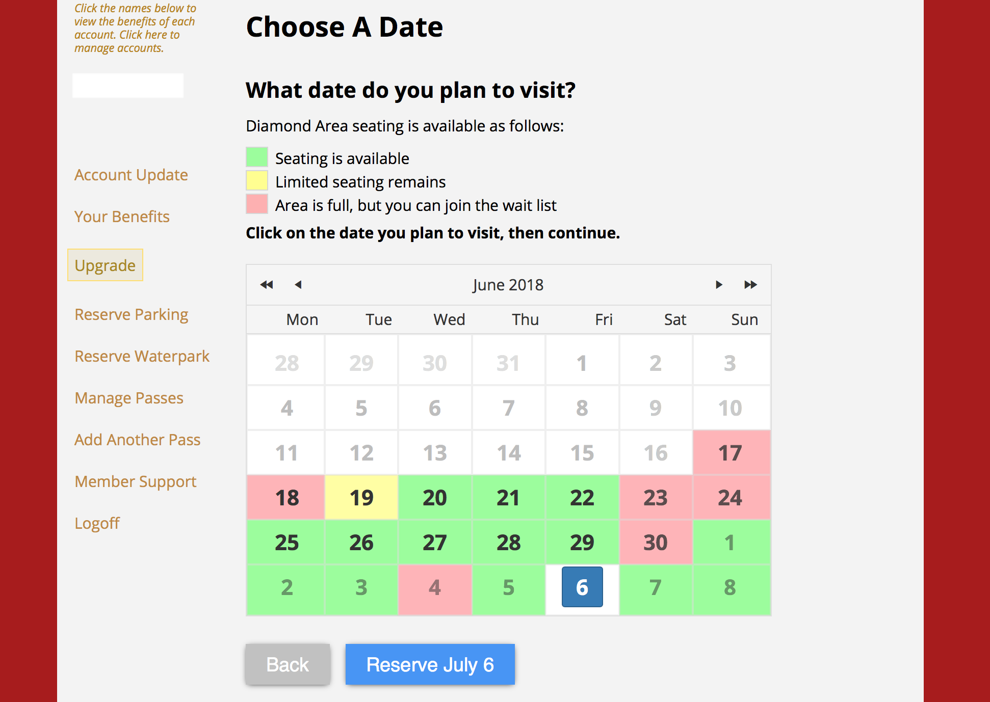 "The next page will have you confirm a date. As you can see the water park access fills up very quickly so you will need to plan way ahead of time to get the date you'd like. Pick your date and hit ""Reserve."""
