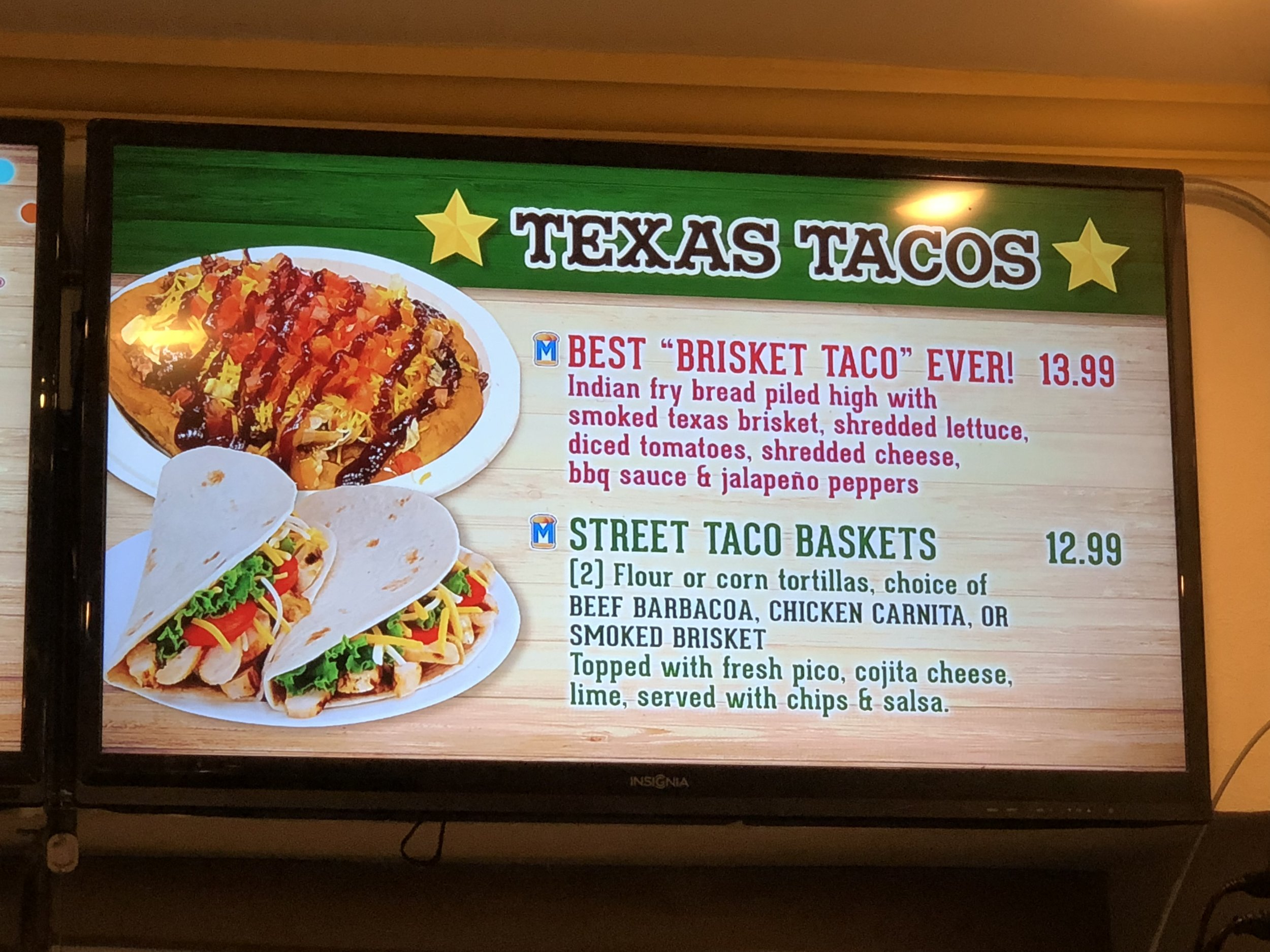 Main meal items at Texas Taco Bar.