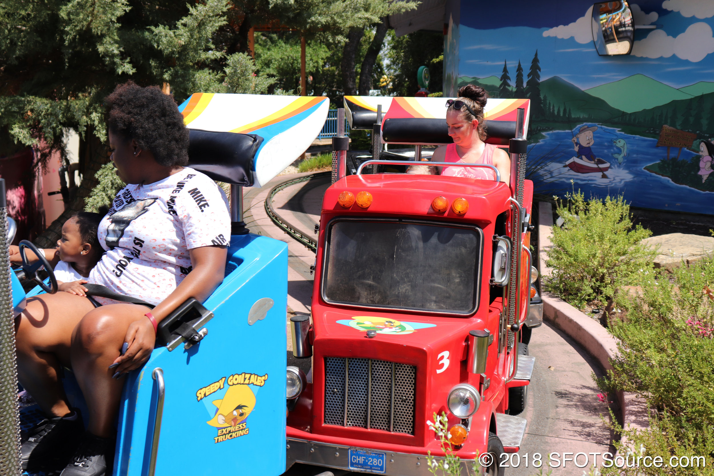 Ride cars are themed to actual vehicles.