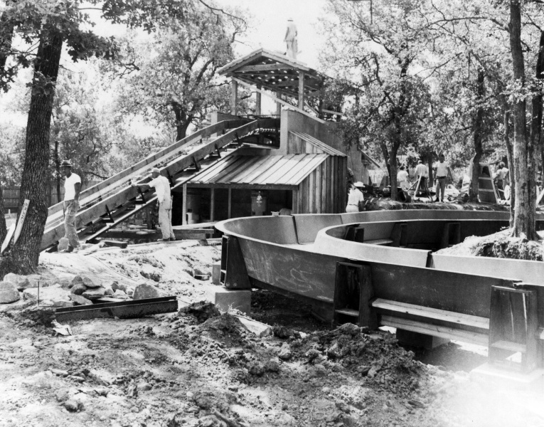 Crews constructing Flume 1 prior to its opening in 1963.  Credit: Six Flags Archives