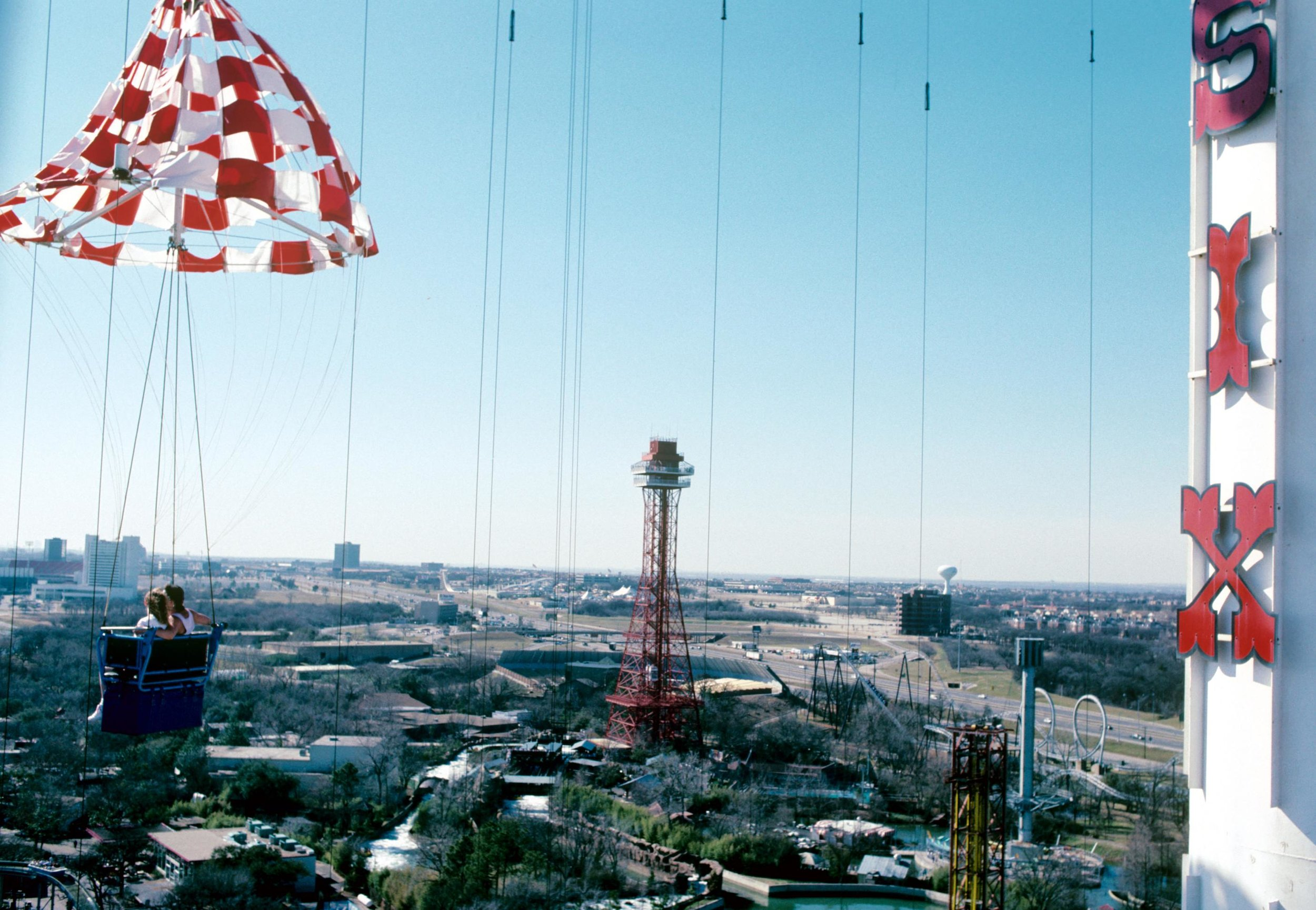 A look at Six Flags Over Texas from Texas Chute Out during the 1989 season.