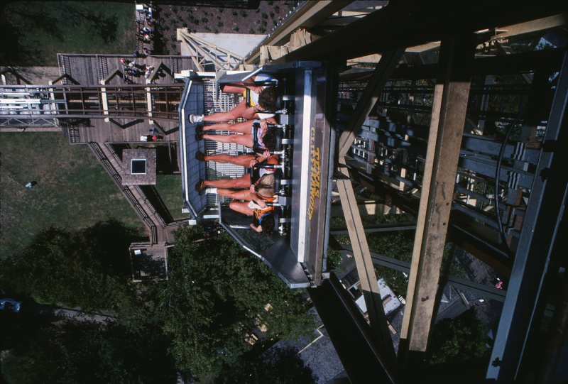 Looking down on Texas Cliffhanger (Wildcatter) during the park's 1982 season.