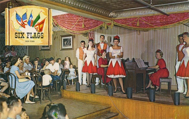 An early Six Flags Over Texas postcard featuring the Crazy Horse Saloon. Credit: Six Flags Archives