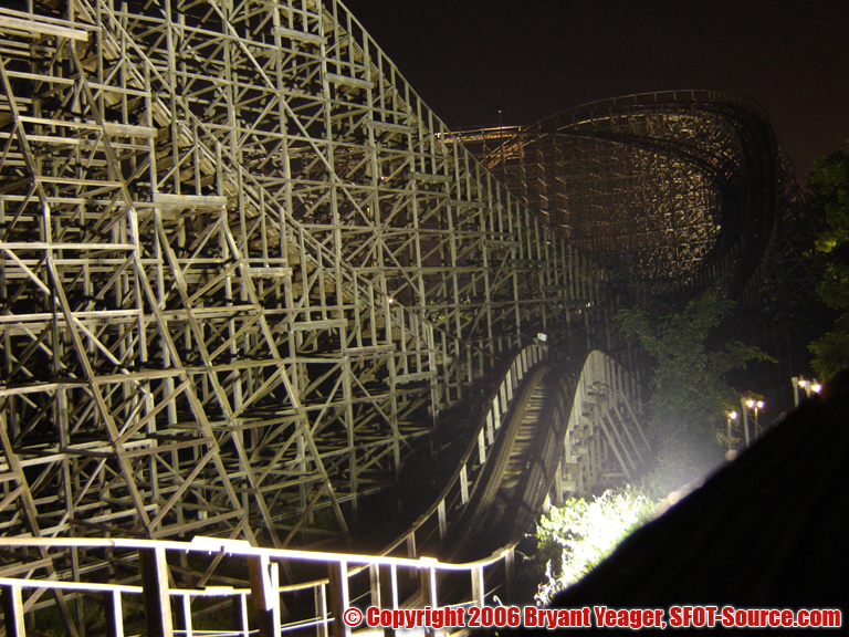 A look at The Texas Giant at night.