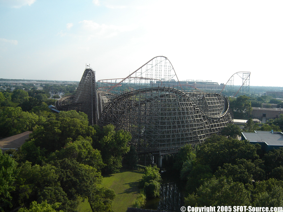 A view of The Texas Giant from Shock Wave.