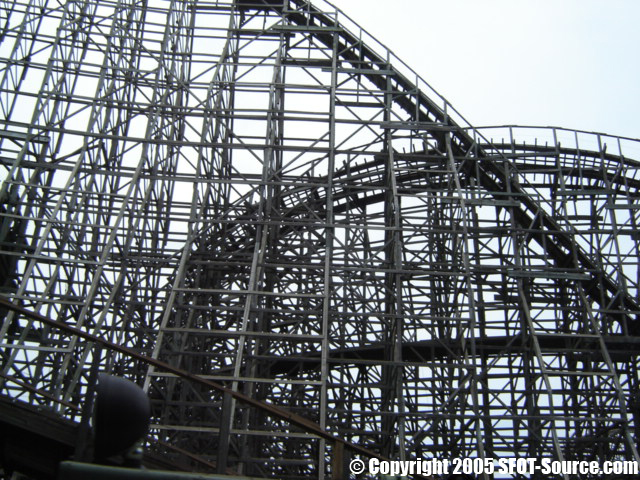 The winding track and intense drops of The Texas Giant.