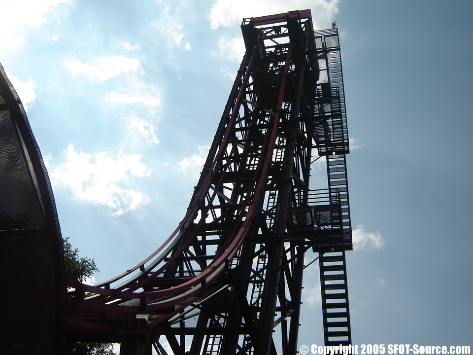 Four guests would board each ride vehicle and travel down the 100-foot-tall ride in a complete free fall.