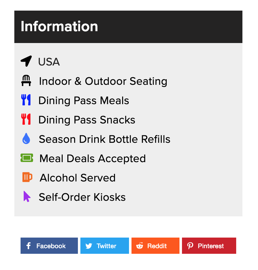 """Information"" tabs are accurately displayed for each food location."