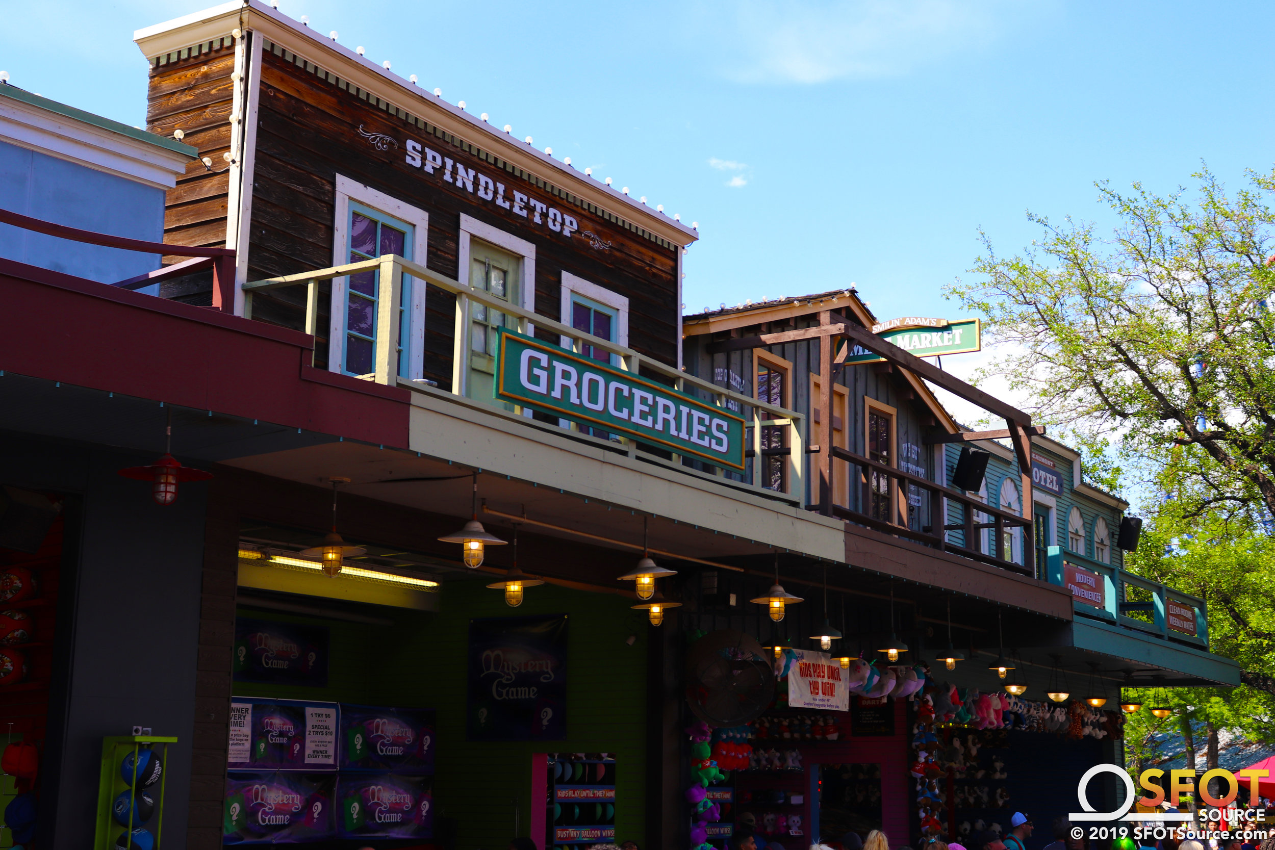 Facades line the games midway area of Boomtown.