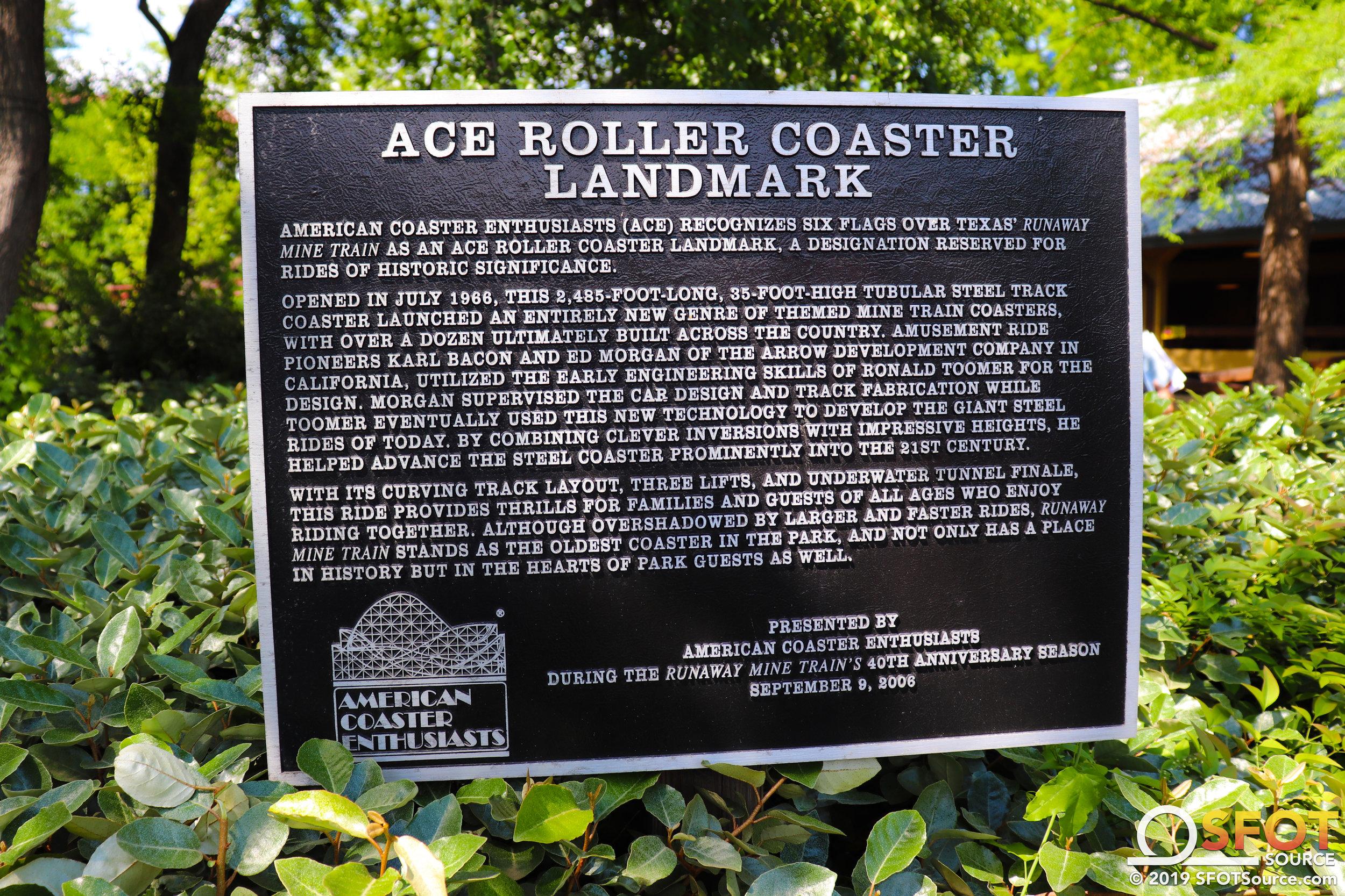 ACE designated Runaway Mine Train a Roller Coaster Landmark in 2006.
