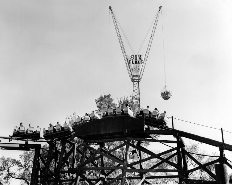 Sky Hook towers over the Runaway Mine Train in the 1960s. Credit: Six Flags Archives